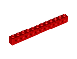 Technic, Brick 1 x 12 with Holes, Red (3895 / 389521)