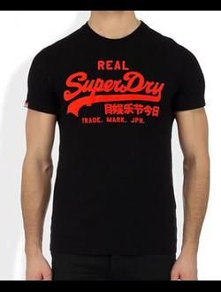 Футболка SuperDry с винтажным логотипом, цвет черный
