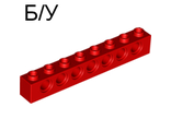 ! Б/У - Technic, Brick 1 x 8 with Holes, Red (3702 / 370221) - Б/У