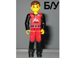 ! Б/У - Technic Figure Red/Black Legs, Red Top, Brown Hair (Fireman), n/a (tech009) - Б/У