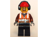 Cargo Center Worker - Orange Zipper, Safety Stripes, Belt, Brown Shirt, Black Legs, Red Construction Helmet, Headphones , Brown Moustache and Goatee, n/a (cty0799)
