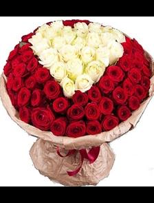 Букет 101 роза Премиум Сердце