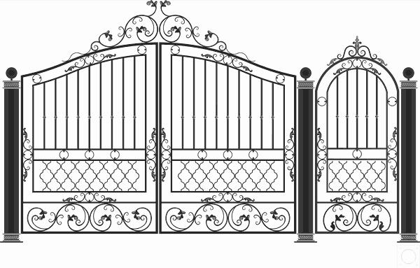 Кованые ворота фото чертежи