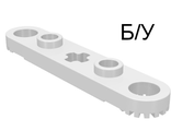 ! Б/У - Technic, Plate 1 x 5 with Toothed Ends, 2 Studs and Center Axle Hole, White (2711) - Б/У