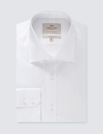 Рубашка Hawes & Curtis Men's Formal White Pique Slim Fit Shirt - Single Cuff - Easy Iron