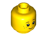 Minifigure, Head Black Eyelashes, Brown Eyebrows, Freckles Pattern - Hollow Stud, Yellow (3626cpb0690 / 6000287 / 6105708)