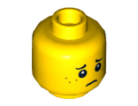 Minifigure, Head Dual Sided Black Eyebrows, Dark Orange Freckles, Smile / Worried Pattern - Hollow Stud, Yellow (3626cpb0595 / 6039464)