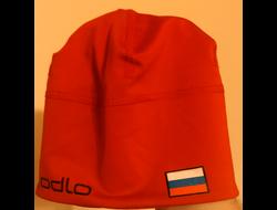 Шапочка  ODLO с флагом России  лайкра красная