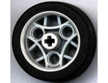 ! Б/У - Wheel 36.8 x 14 ZR with Axle Hole, 3 Pin Holes, and Black Rubber Tire Glued On, Light Bluish Gray (44293c01 / 4275422) - Б/У