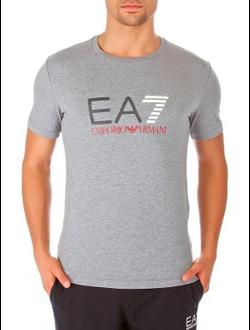 Футболка EA7 Emporio Armani однотонная с логотипом, цвет серый