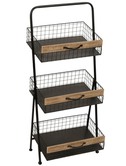 200520 SHELF 3 LEVELS GASPARD NAT 40.5X46XH92CM IRON+MDF