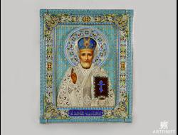 Икона святого Николая Чудотворца (ростовская финифть). Заказать икону.