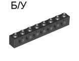 ! Б/У - Technic, Brick 1 x 8 with Holes, Black (3702 / 370226) - Б/У
