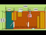 """Схема готовой  бани - размером 5 х 2,3 метра с крыльцом. Печь """"Валдай"""" труба выходит в стену"""