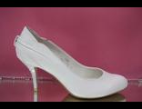 Свадебные туфли белые кожаные маленький устойчивый каблук пятка и каблук украшен стразами серебренны