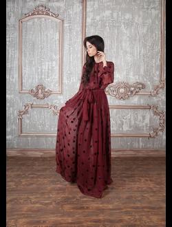 Платье бордового цвета из итальянского шифона в горох