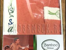 Комплект для сауны из бамбука мужской терракот