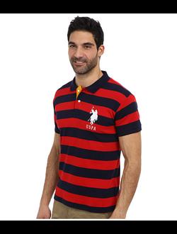 Поло U.S. Polo Assn с логотипом, в широкую горизонтальную красную и черную полоски