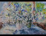 """Круглова Светлана. """"Ромашек белая метель"""",  холст / масло,  50 х 70 см.,  2016 г."""