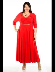 Платье Макси 374-Lux (красный).  Размерный ряд:  52-68