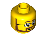 Minifigure, Head Beard Brown Angular with White Pupils and Glasses Pattern - Hollow Stud, Yellow (3626cpb0267 / 4261301 / 6030239)