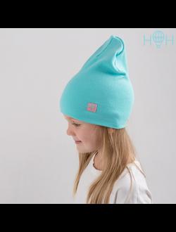 ШВ19-13620381 Двухслойная трикотажная шапка с маленьким сердечком, лапша мята