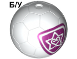 ! Б/У - Sports Soccer Ball with Magenta Outlined Heart and Star Pattern, White (x45pb06 / 6023212) - Б/У