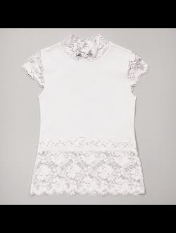 Блузка (кружево, бусинки) (белый) | арт.28843