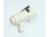 Minifig, Weapon Gun, Blaster / Shooter Mini with Dark Bluish Gray Trigger - Complete Assembly, White (15391c01)