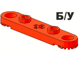 ! Б/У - Technic, Plate 1 x 5 with Toothed Ends, 2 Studs and Center Axle Hole, Red (2711) - Б/У