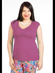 Блуза-топ 343-Lux (брусничный). Размерный ряд: 54-70