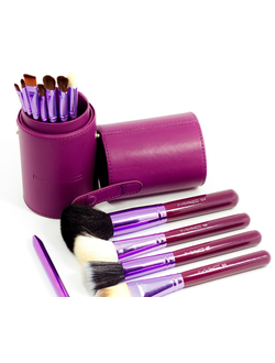 MAC 12 Professional Makeup Brush Set with Cup Leather Holder Case (Purple)