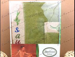 Комплект для сауны из бамбука мужской Зеленый