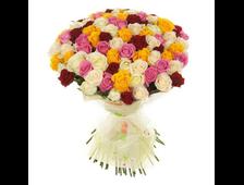 51 цветная роза букет На Радость