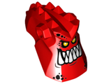 Minifig, Head Modified Alien with Spikes on Top and Holes on Sides with Pointed Teeth and Orange Eyes Pattern, Red (24305pb01 / 6131813)
