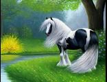 Красивая лошадь на лужайке