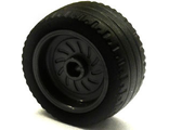 Wheel 18mm D. x 12mm with Axle Hole and Stud with Black Tire 24 x 12 Low  18976 / 18977 , Black (18976c01)
