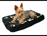 TRIXIE Лежак для собак Winny 80*55 см, флис с рисунком лапки, черный