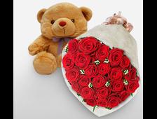 21 красная роза с плюшевым мишкой Объятия и Поцелуи