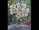 """Круглова С. Н. """"Белые розочки в саду"""",  холст / масло,  65 х 50 см.,  2015 г."""