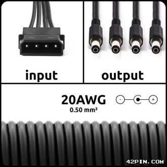 Переходник 1xMolex >> 4 x Barrel 5.5x2.1mm 20AWG, длина 30-120 см