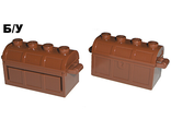 ! Б/У - Container, Treasure Chest, Complete Assembly - Thick Hinge, Slots in Back, Reddish Brown (4738ac01) - Б/У