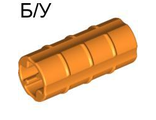 ! Б/У - Technic, Axle Connector 2L Ridged with x Hole x Orientation, Orange (6538b / 4140324 / 4252469) - Б/У