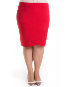 Оригинальная яркая юбка-бутон Лакшери-526-красный. Размерный ряд: 52-66