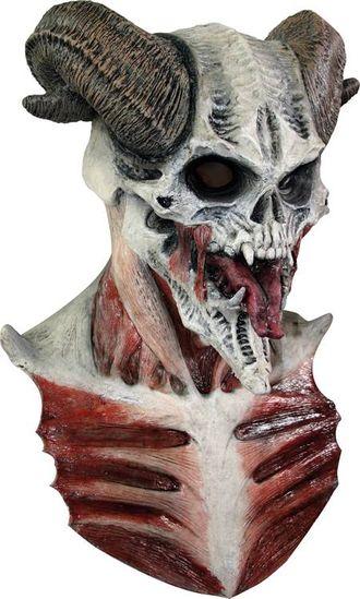 страшная маска, маска из латекса, латексная маска, рогатый дьявол, череп с рогами, монстр, ужасный
