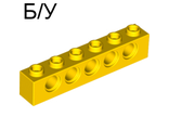 ! Б/У - Technic, Brick 1 x 6 with Holes, Yellow (3894 / 389424) - Б/У