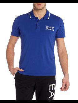 Поло EA7 Emporio Armani однотонная с логотипом, цвет синий
