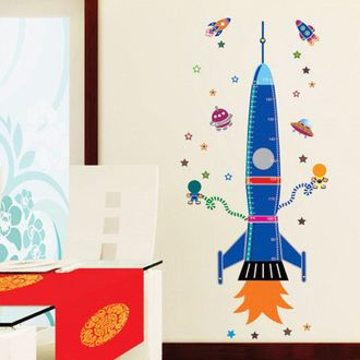 Многоразовая виниловая наклейка ростомер в детскую комнату Ракета