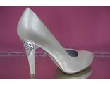 Свадебные туфли кожа перламутровые айвори на среднем каблуке стразы купить магазин интернет салон