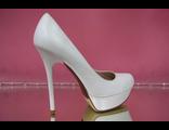 Туфли свадебные белые кожаные высокий каблук на платформе круглый мыс  № A1333D